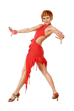 Latino dancer posing. Isolated on white photo