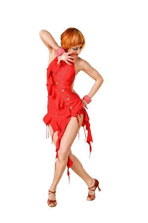 bailarines de salsa: Bailarina de latinos en acción. Aislados en blanco