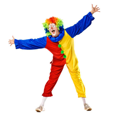 carnival clown: Funny clown standing over a white background  Isolated Stock Photo