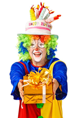 clown shoes: Happy birthday clown with gift box  Isolated over white