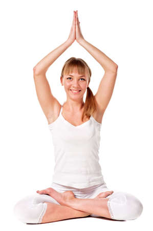 Young woman doing yoga exercise  Isolated over white photo
