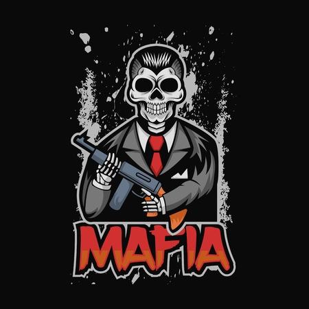 illustration vectorielle de crâne mafia