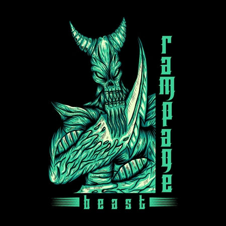 Monster Beast Rampage vector illustration for your company or brand  イラスト・ベクター素材