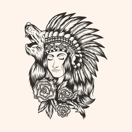 Illustration vectorielle amérindienne belle fille pour votre entreprise ou votre marque