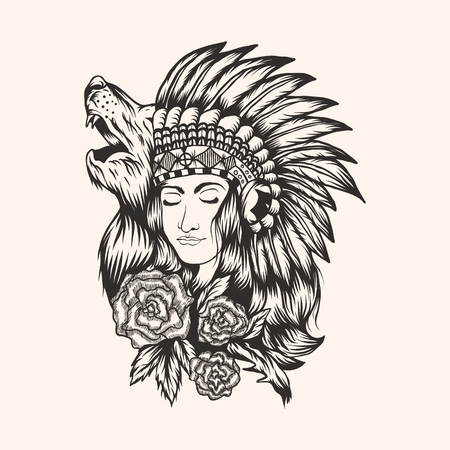 Native American  beautiful  Girl vector illustration for your company or brand 向量圖像