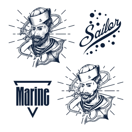 sailor man hand draw vector illustration for your company or brand