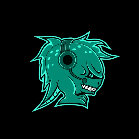 monster headphone gaming mascot vector illustration for your company or brand