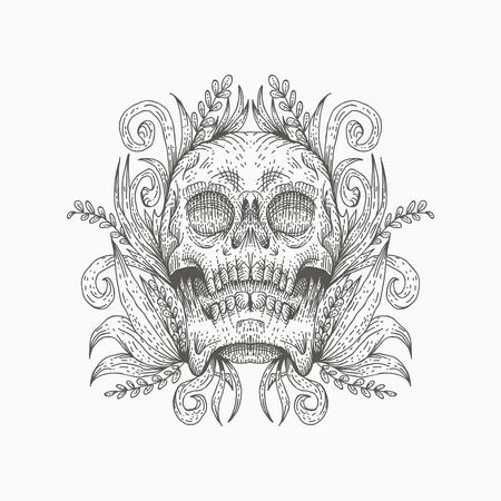 skull decoration vector illustration for your company or brand
