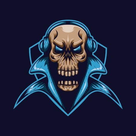 skull gaming shield mascot e sport vector illustration amazing design for your company or brand