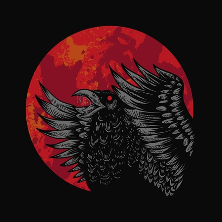 Crow Red Moon Vector illustration Vettoriali
