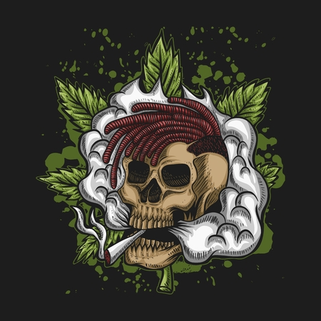 Skull Smoke Cannabis Vector illustration  イラスト・ベクター素材