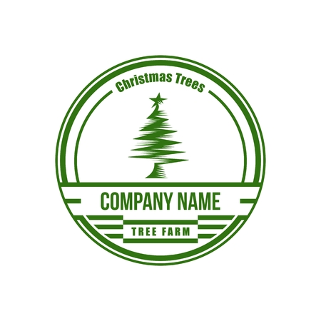 christmas tree vintage circle amazing design for your company or brand