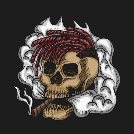 Skull Smoke Vector illustration for your company or brand