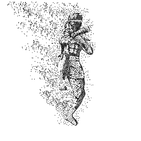 muay thai particle vector illustration