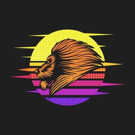 lion sunset retro vector illustration