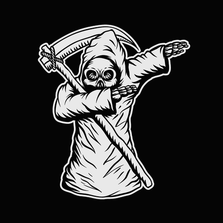 dabbing death skull vector illustration for your company or brand Illustration