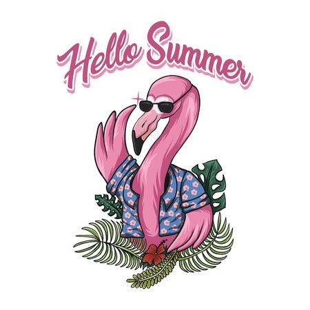 Flamingo hello summer vector illustration pour votre entreprise ou votre marque