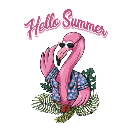 flamingo hello summer vector illustration for your company or brand