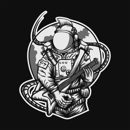 Rocker Astronaut vector illustration for your company or brand