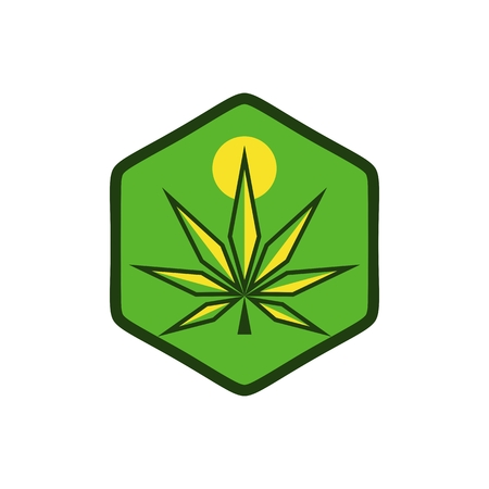 cannabis sun modern logo vector design Illustration