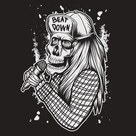 Skull Sing vector illustration