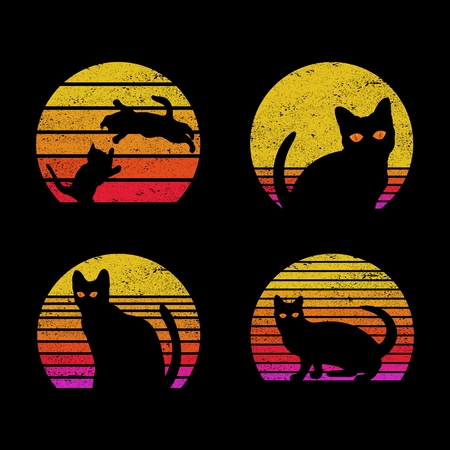 cat sunrise retro Vector illustration