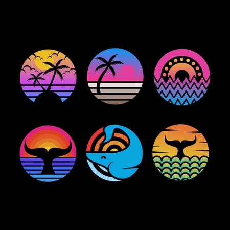 ocean sunset circle vector illustration