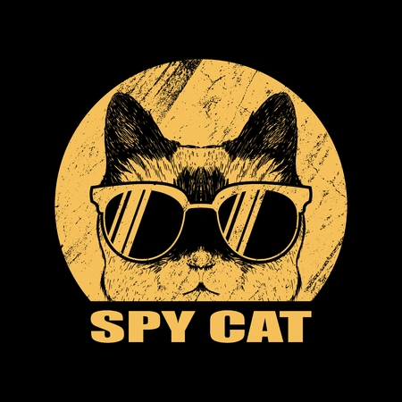 Spy cat eyeglasses vector illustration Illustration