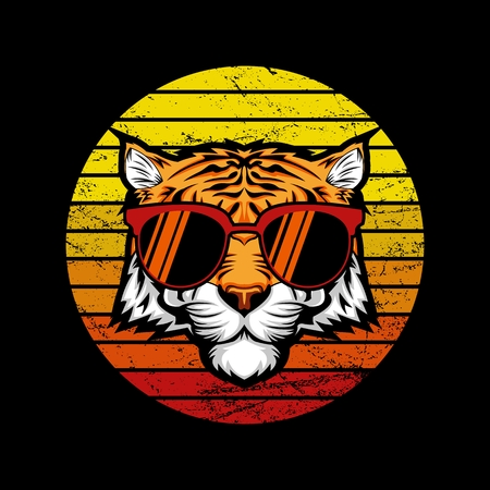 Tiger Retro Sunset Vector illustration Illustration