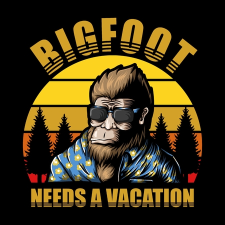 Bigfoot vacation sunset Vector illustration