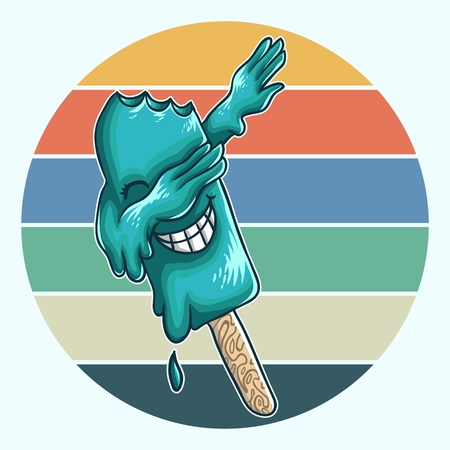 ice cream dabbing vector illustration