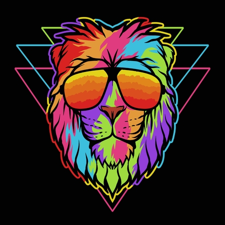 Lion eyeglasses colorful vector illustration