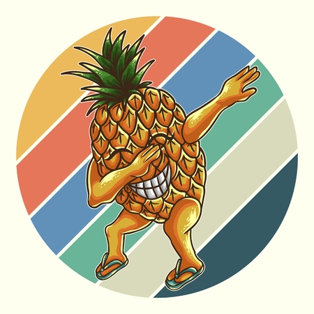 pineapple dabbing retro vector illustration