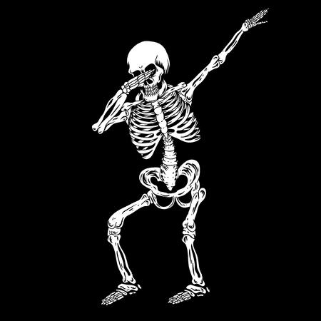 squelette humain tamponnant illustration vectorielle