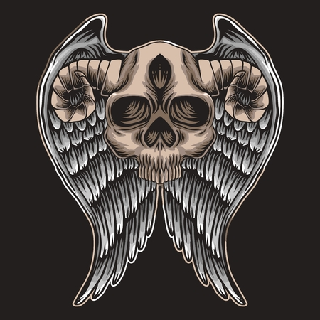 Skull horn Wing Vector illustration