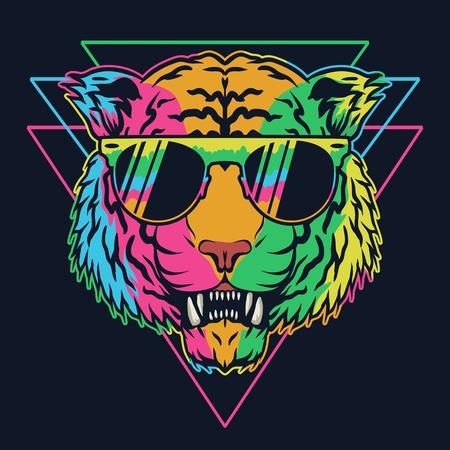 Tiger colorful eyeglasses Vector illustration