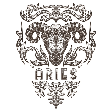 Zodiac aries vintage vector illustration Illustration
