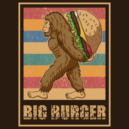 Retro Bigfoot Burger Vector illustration Illustration