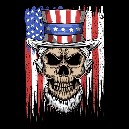 skull uncle sam usa flag vector illustration