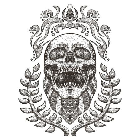 Skull bandana usa flag vintage vector illustration Ilustração