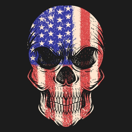 Skull Usa flag Vector illustration Illustration