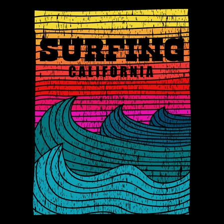 surfing sea california retro vector illustration