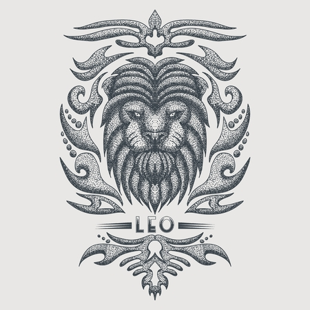 leo zodiac vintage vector illustration