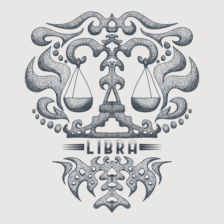 LIBRA zodiac vintage vector illustration