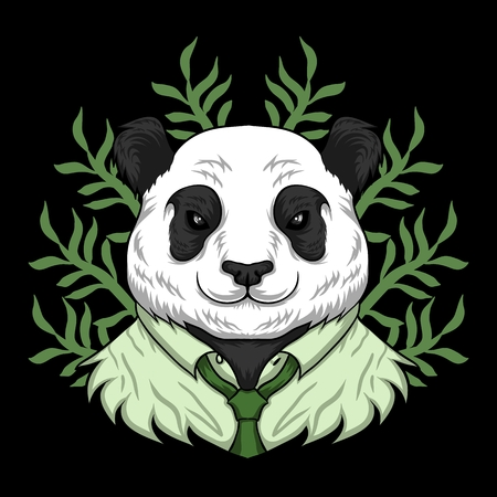 panda work cartoon vector illustration Illustration