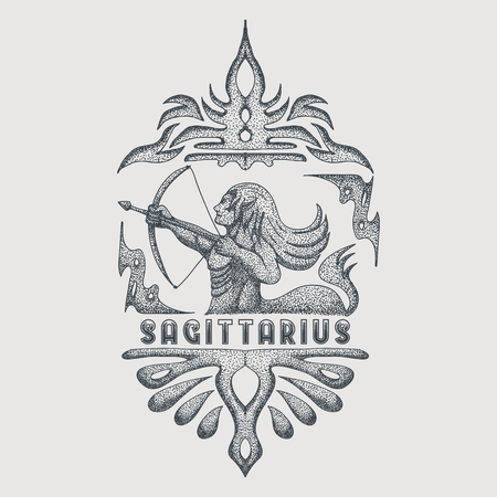 sagittarius zodiac vintage vector illustration Illustration