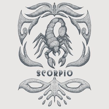 scorpio zodiac vintage Vector illustration