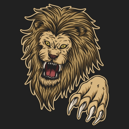 angry lion attack vector illustration