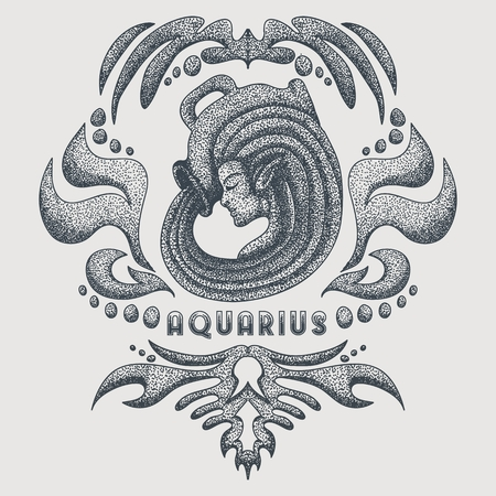 aquarius vintage vector illustration Illustration