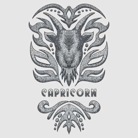 capricorn vintage vector illustration Illustration